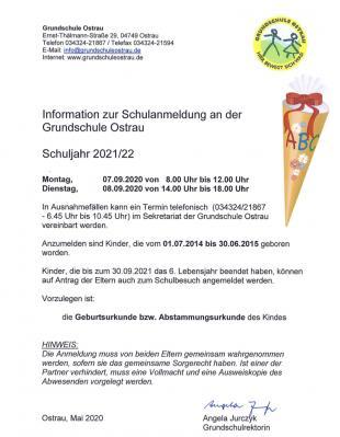 Vorschaubild zur Meldung: Information zur Schulanmeldung an der Grundschule Ostrau
