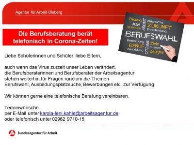 Vorschaubild zur Meldung: Agentur für Arbeit Olsberg bietet telefonische Beratung