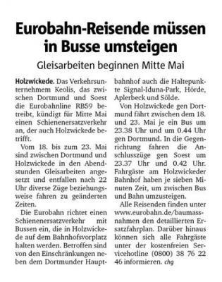 Bericht Hellweger Anzeiger vom 08.05.2020