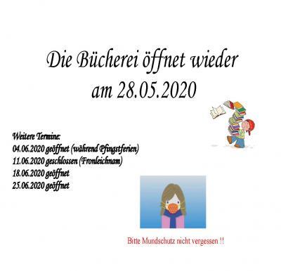 Vorschaubild zur Meldung: Bücherei Röslau öffnet ab 28.05.2020 wieder!