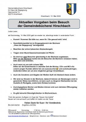 Vorschaubild zur Meldung: Bücherei Hirschbach öffnet wieder am Donnerstag, 14. Mai 2020