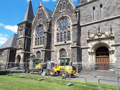 Beginn der Bauarbeiten für den barrierefreien Zugang zur Johanneskirche
