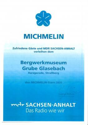 """Vorschaubild zur Meldung: +++ MDR-Radio-Sachsen-Anhalt verleiht dem Team des Bergwerkmuseums Grube Glasebach Straßberg den Zuhörerpreis """"MICHMELIN-STERN 2020"""" +++"""