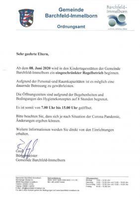 Foto zur Meldung: Eingeschränkter Regelbetrieb in den Kindertagesstätten Barchfeld-Immelborn