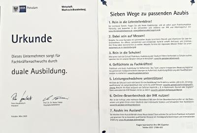 """- Initiative Jugendarbeit Neuruppin e.V. -  ein verlässlicher Partner """"Wir bilden Aus"""""""