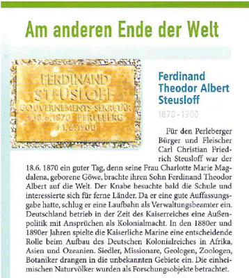Leseprobe: Erinnerungsblättchen Nr. 73 kostenfrei in der Stadtinformation Perleberg erhältlich.