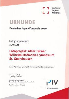 Urkunde Deutscher Jugendfotopreis 2020