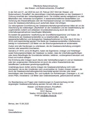Bild der Meldung: Ankündigung der Gewässerunterhaltungsmaßnahmen 2020