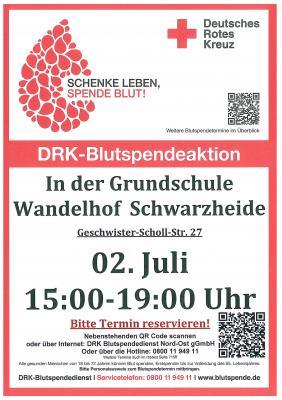 Vorschaubild zur Meldung: DRK Blutspendeaktion in der Grundschule Wandelhof