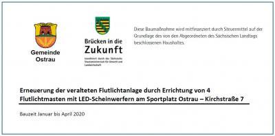 Foto zur Meldung: Publizitätspflicht zur Erneuerung der Flutlichtanlage in Ostrau