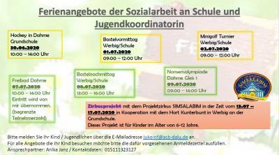 Vorschaubild zur Meldung: Ferienangebot der Sozialarbeit an Schule und Jugendkoordinatorin