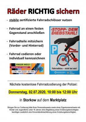 Vorschaubild zur Meldung: Kostenlose Fahrradcodierungen