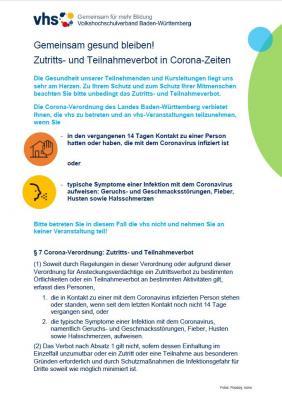 Foto zur Meldung: Bitte beachten: Nach wie vor gelten corona-bedingte Zutrittsverbote für bestimmte Personengruppen