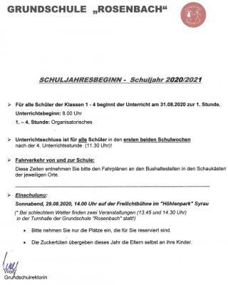 Vorschaubild zur Meldung: Schuljahresbeginn 2020/21