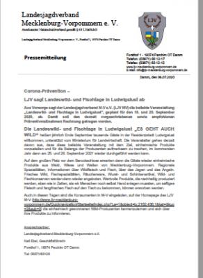 Vorschaubild zur Meldung: Corona Prävention - LJV sagt Landeswild- und Fischtage in Ludwigslust ab