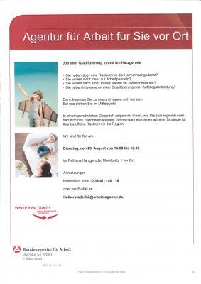 Vorschaubild zur Meldung: +++ Die Arbeitsagentur kommt am 25. August von 14 bis 18 Uhr mit ihrem Beratungsservice in das Harzgeröder Rathaus +++