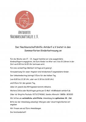 Vorschaubild zur Meldung: Der Nachbarschaftshilfe Antdorf e.V bietet in den Sommerferien Kinderbetreuung an