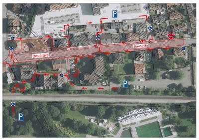 Übersichtplan Fußläufige Erreichbarkeit und Parken in der Murger Mitte
