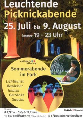 Leuchtende Picknickabende im Optikpark