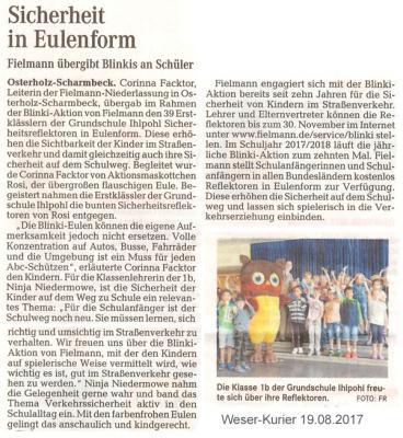 Foto zur Meldung: Blinki-Aktion im Weser-Kurier