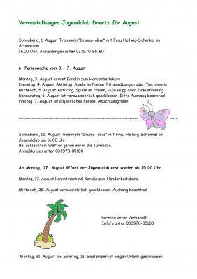 Veranstaltungen im Dreetzer Jugendclub im August