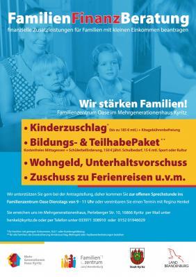 Vorschaubild zur Meldung: Familienfinanzberatung - finanzielle Zusatzleistungen für Familien mit kleinem Einkommen beantragen