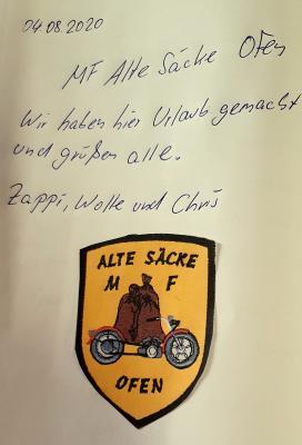 """Gästebucheintrag """"ALTE SÄCKE MF"""" 04.08.2020"""
