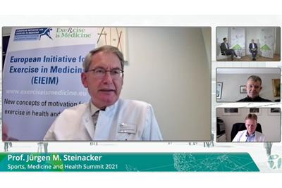 """Screenshot aus der Sendung: Prof. Dr. Dr. Jürgen M. Steinacker äußert sich zur provokativen Frage """"Sport im Juli 2020 — gesund oder gefährlich?"""""""
