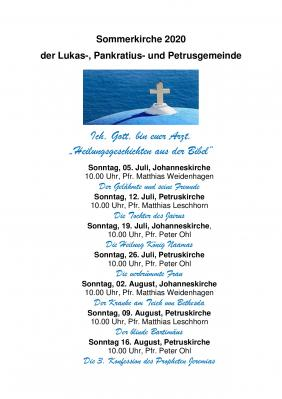 Bild der Meldung: Sommerkirchen-Gottesdienst zum 9.8.2020 in der Petruskirche