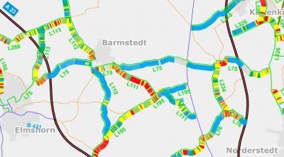 Zustandserfassung und -bewertung Landesstraßen (Ausschnitt) - Quelle: Landesbetrieb Straßenbau und Verkehr Schleswig-Holstein