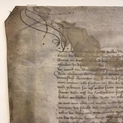 Stadt Perleberg | Initiale Urkunde vom Perleberger Frieden 1420 aus dem Stadtarchiv Perleberg