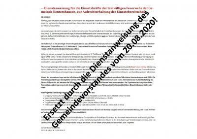 Vorschaubild zur Meldung: -- Dienstanweisung für die Einsatzkräfte der Freiwilligen Feuerwehr der Gemeinde Nentershausen aktualisiert. --