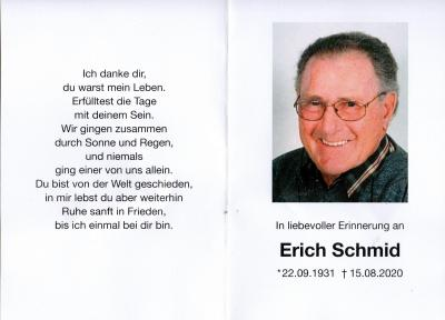 Trauerkarte Erich Schmid