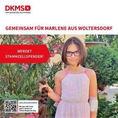 Vorschaubild zur Meldung: Gemeinsam für Marlene aus Woltersdorf - Aufruf der DKMS