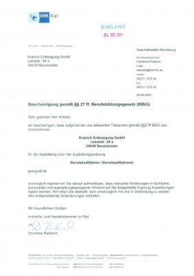 Bescheinigung gemäß §§ 27 ff. Berufsbildungsgesetz (BBiG)