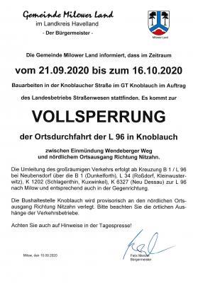 Vorschaubild zur Meldung: Vollsperrung der Ortsdurchfahrt der L 96 in Knoblauch
