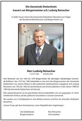 Vorschaubild zur Meldung: Die Gemeinde trauert um Bürgermeister a.D. Ludwig Reinacher