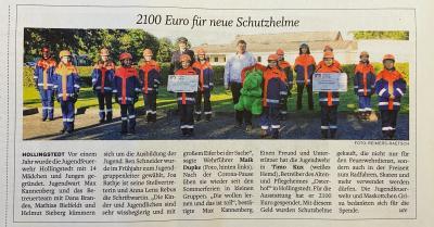 Foto zur Meldung: Spende an die Jugendfeuerwehr Hollingstedt