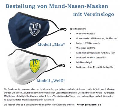 Vorschaubild zur Meldung: Mund-Nasen-Masken mit Vereinslogo bestellen!