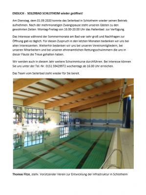 Seilerbad Schlotheim - wieder geöffnet