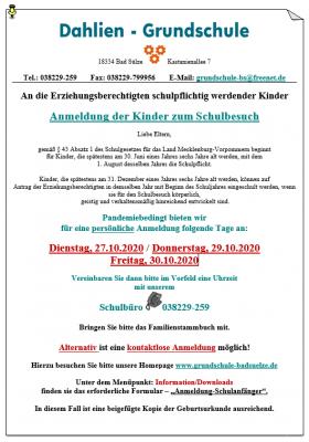 Vorschaubild zur Meldung: Information zur Schulanmeldung für das Schuljahr 2021/2022