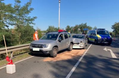 Foto zu Meldung: Crash an der Autobahn