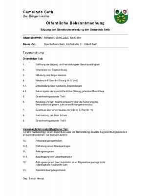 Foto zur Meldung: Die Gemeindevertretersitzung wurde vorverlegt auf den 30.09.20