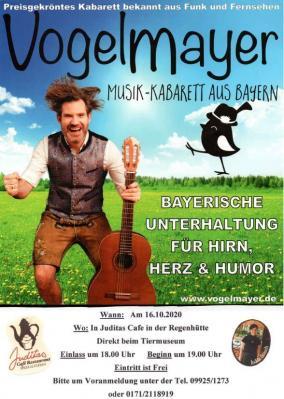 Der Vogelmayer zu Gast am 16.10. in Juditas Café in Regenhütte