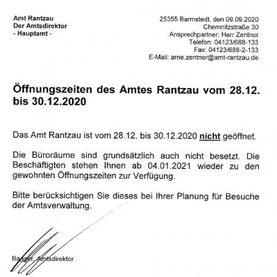 Vorschaubild zur Meldung: Öffnungszeiten des Amtes Rantzau vom 28.12. bis 30.12.2020