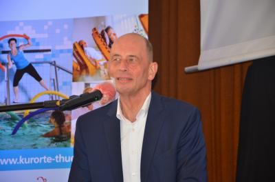 Thüringens Wirtschaftsminister Wolfgang Tiefensee beim Thüringer Bädertag 2020 in Bad Lobenstein. Foto: Frank