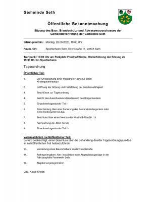 Foto zur Meldung: Sitzung des Bau-, Brandschutz- und Abwasserausschusses