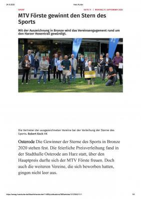 """Foto zur Meldung: MTV Förste mit """"Stern des Sports"""" ausgezeichnet"""