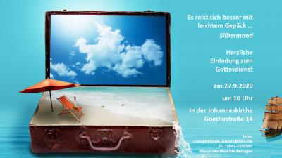 """Vorschaubild zur Meldung: Gottesdienst """"Es reist sich besser mit leichtem Gepäck"""" am 27.9.2020"""