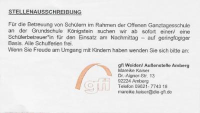 Foto zur Meldung: Stellenausschreibung für die Nachmittagsbetreuung an der Grundschule Königstein